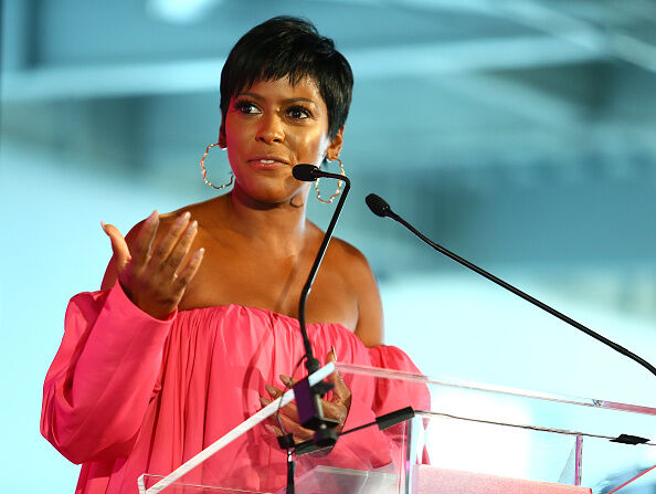 #BlogHer18 Creators Summit NEW YORK, NY - AUGUST 09: Tamron Hall speaks during the #BlogHer18 Creators Summit at Pier 17 on August 9, 2018 in New York City. (Photo by Astrid Stawiarz/Getty Images)