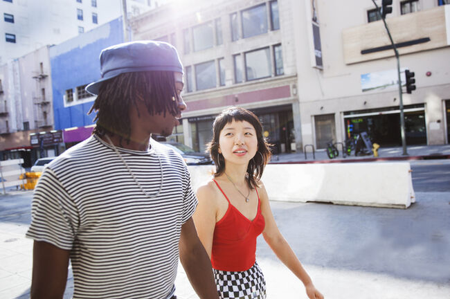 Young couple walking in the city