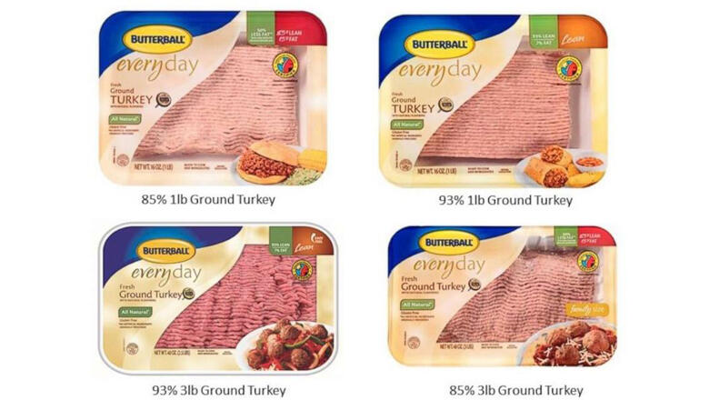 Butterball ground turkey products involved in a voluntary recall are pictured in an image released by the company