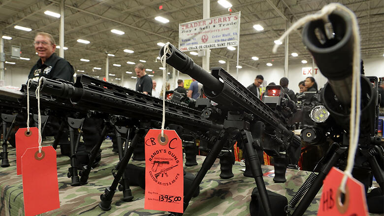 AR-15 rifles are on display during the Nation's Gun Show