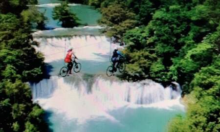 None - Wow! This Looks Safe! Bike Ride Over Falls