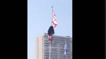 Qui West - Party Girl Thought It'll Be Good Idea To Climb A Flagpole But Regrets It!