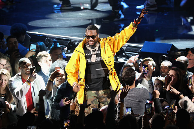 CHARLOTTE, NC - FEBRUARY 17: Meek Mill performs during the 68th NBA All-Star Game at Spectrum Center on February 17, 2019 in Charlotte, North Carolina. (Photo by Jeff Hahne/Getty Images)