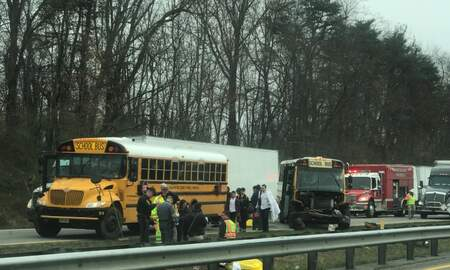None - Giles County school bus involved in crash on I-81