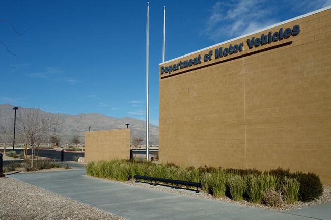 A Department of Motor Vehicles DMV brick building