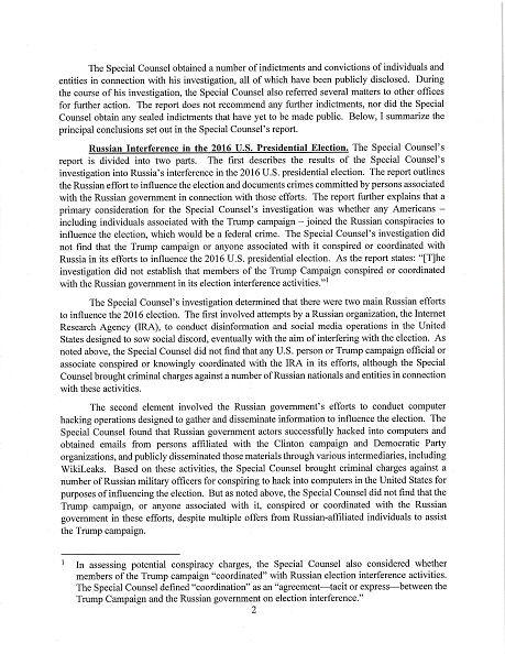 Barr Sends Congress Letter on Mueller Report