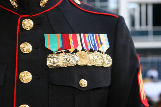 US Marine displaying his medals
