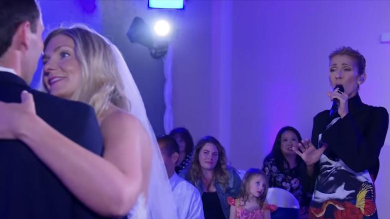 Celine Dion, Jimmy Kimmel, and David Spade crash a Las Vegas wedding