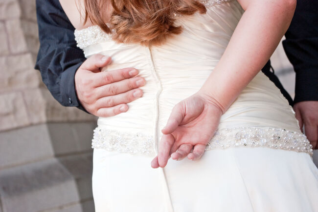 Bride with Fingers Crossed