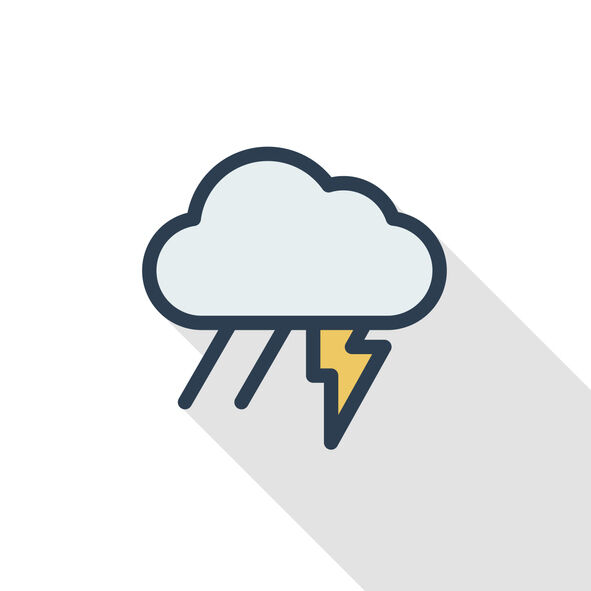 Lightning, thunder storm, rain and cloud thin line flat color icon. Linear vector symbol. Colorful long shadow design.