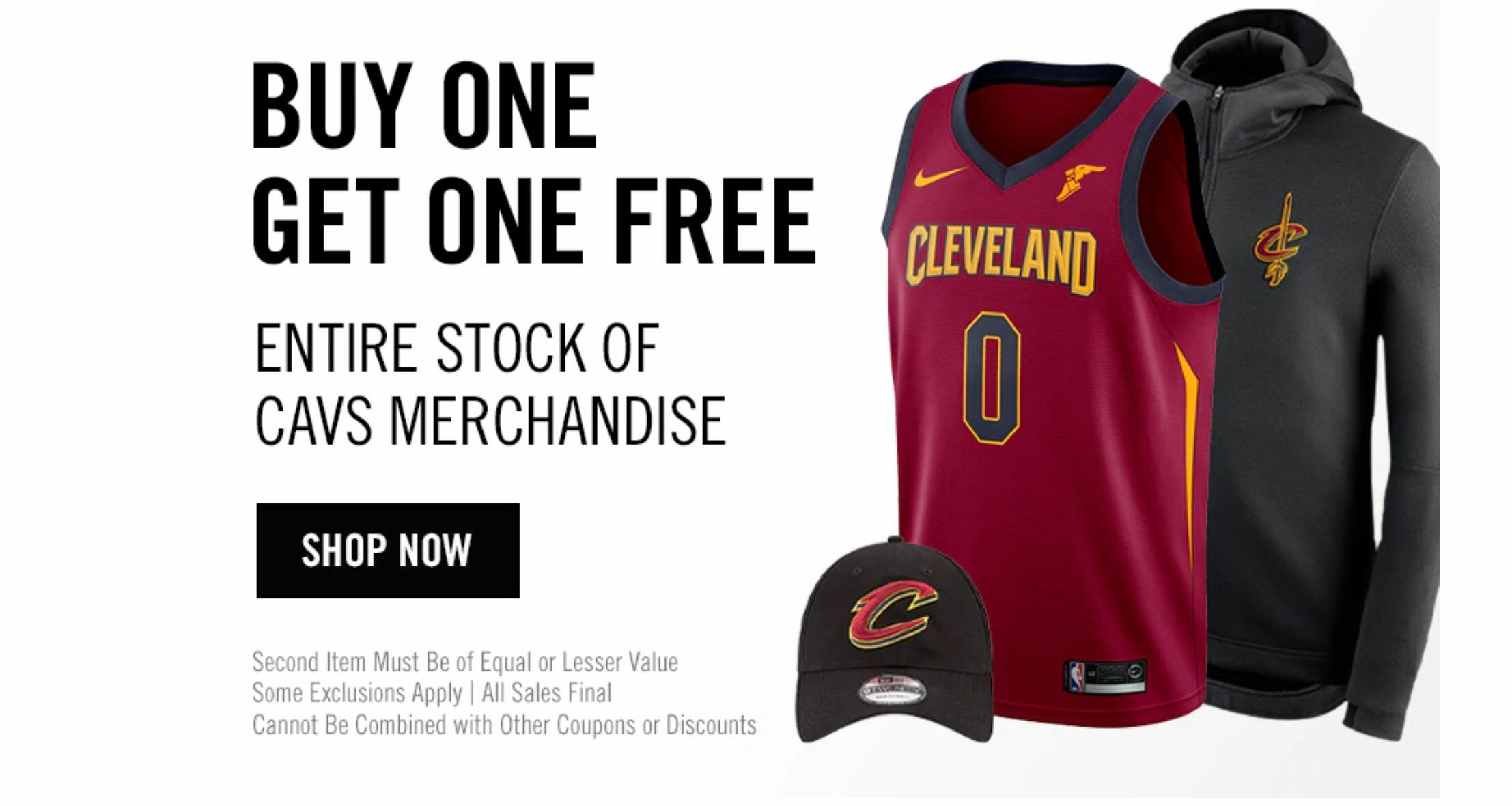 5e8b7426b812 To celebrate Fan Appreciation Night, TODAY ONLY (4/9) Cavaliers Team Shop  will offer fans a BUY ONE, GET ONE FREE deal on the entire stock of Cavs ...