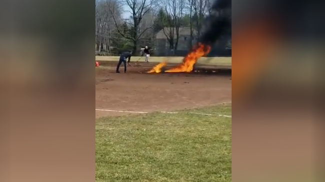 Baseball field on fire