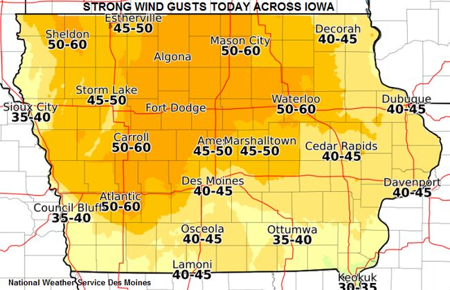 40-50-60 MPH winds, storms, even tornadoes possible IOWA MAPS | 1040 WHO