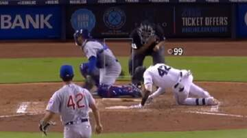 Patrick Sanders - Ouch!! Crazy Pitch Hit The Batter, Catcher AND The Umpire!
