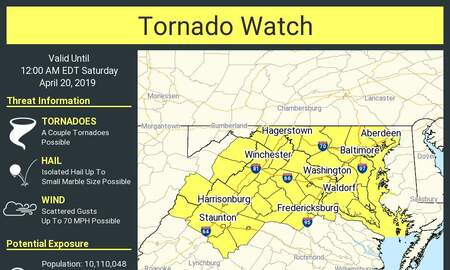 NewsRadio WKCY - News NOW  - A tornado watch has been issued for our area until 12:00 AM Saturday