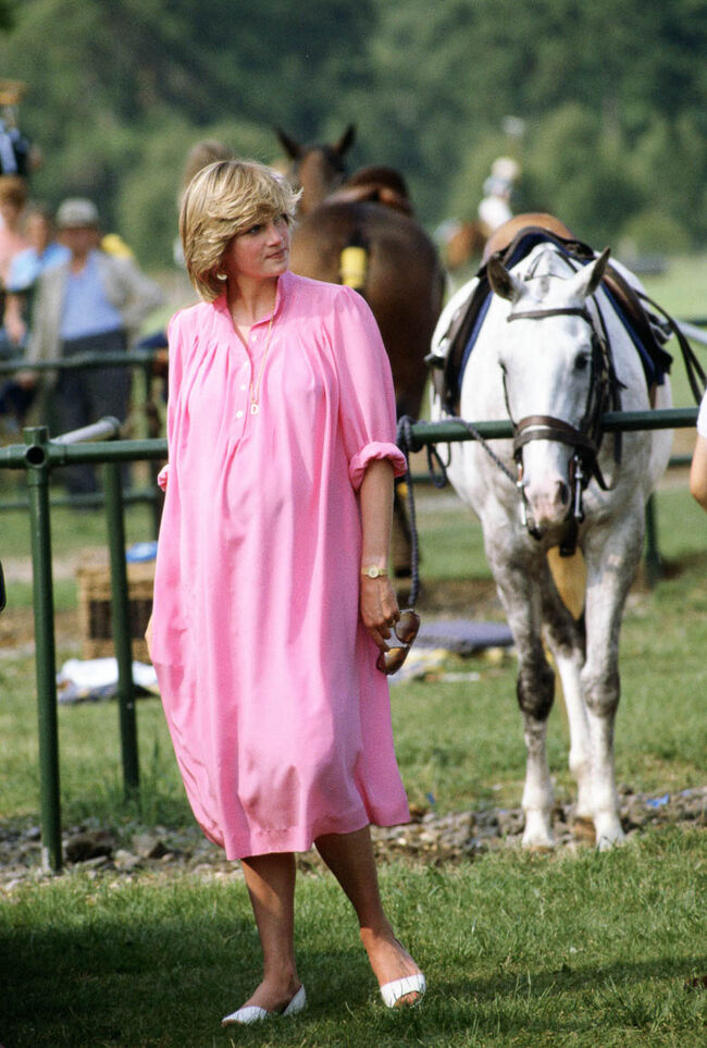 Diana, Princess of Wales, pregnant at Polo in Windsor,