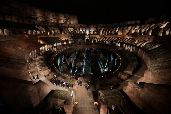 Pope Francis Attends Via Crucis At The Colosseum