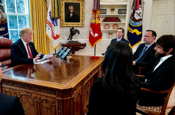 Twitter CEO Jack Dorsey meets with President Donald Trump