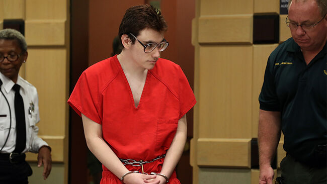 Parkland school shooter Nikolas Cruz enters the courtroom for a hearing at the Broward Courthouse in Fort Lauderdale