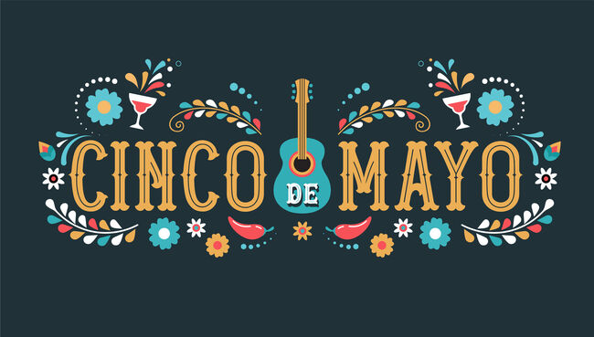 Cinco de Mayo - May 5, federal holiday in Mexico. Fiesta banner and poster design with flags
