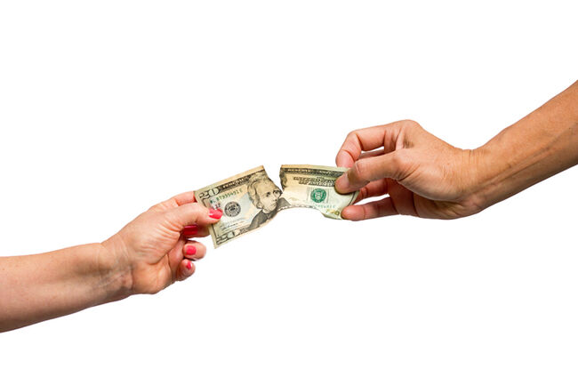 Separation Divorce Man and Woman Fighting Over Money White Background