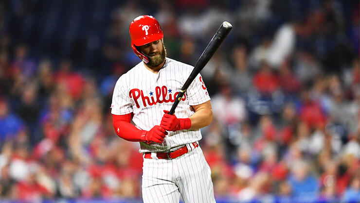 Philadelphia Phillies Outfield Bryce Harper (3) looks at his broken bat after lining out in the third inning during the game between the Detroit Tigers and Philadelphia Phillies