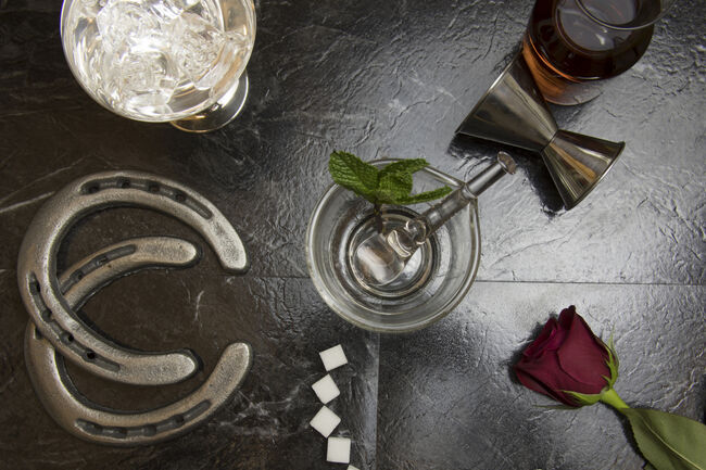 Lay flat of deconstructed mint julep