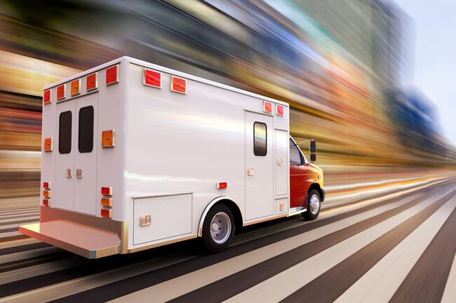 Blurred Motion Of Ambulance On Road