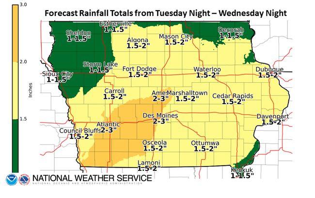Heavy rain coming to Iowa Tuesday night to Wednesday night RAIN MAP on