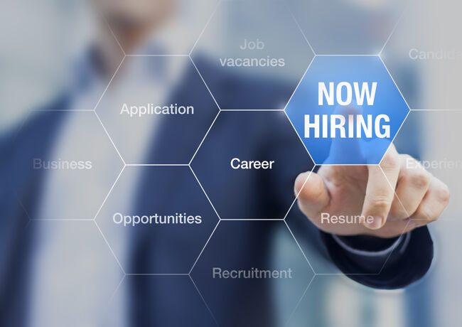 Recruiter advertising for job vacancies, searching candidates to hire