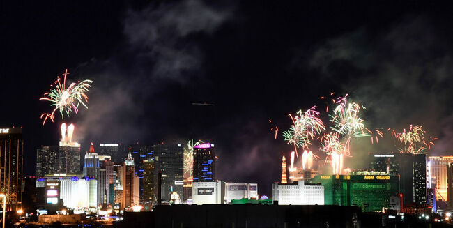 New Year Fireworks Light Up Over The Las Vegas Strip