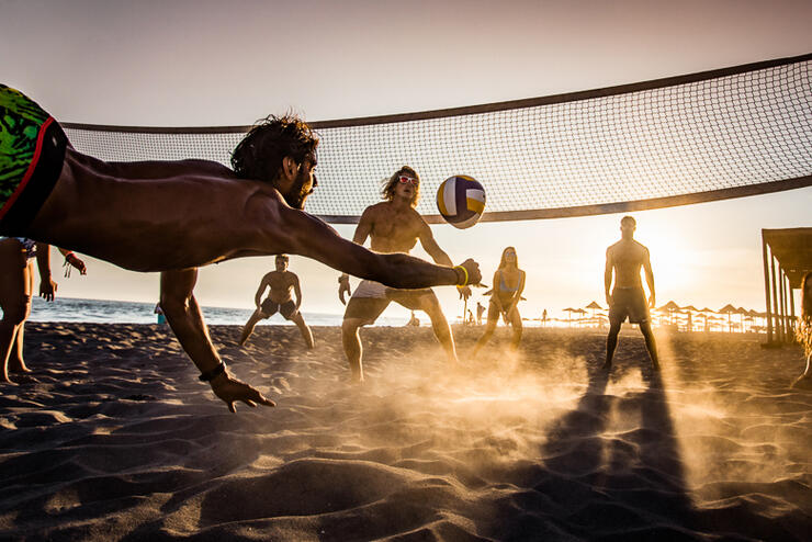 Beach volleyball at sunset!