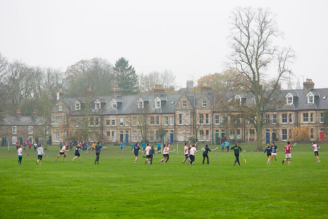 British Playing Quidditch In The Jesus Green Park Of Cambridge