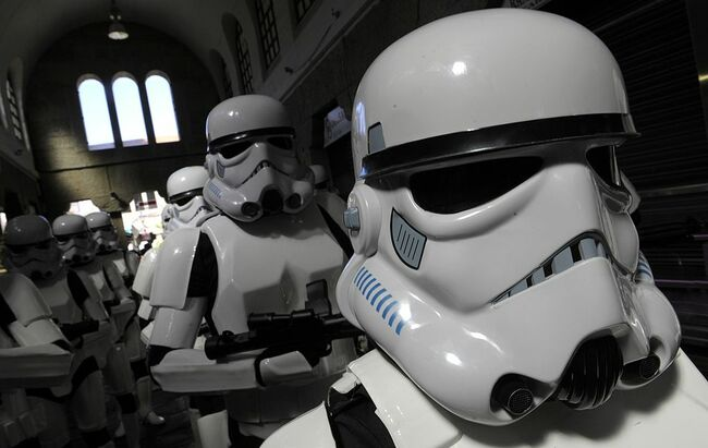 Some fans dressed in Star Wars costumes
