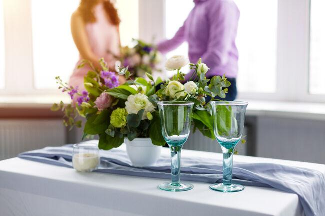 Romantic dinner setup