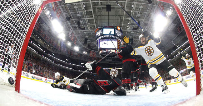 Boston Bruins v Carolina Hurricanes - Game Three (Bruce Bennett/Getty Images)