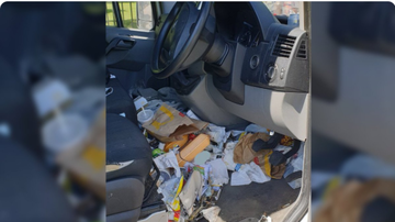 BC - Driver Fined for 'Dangerous' Amounts Of Fast-Food Trash In His Car