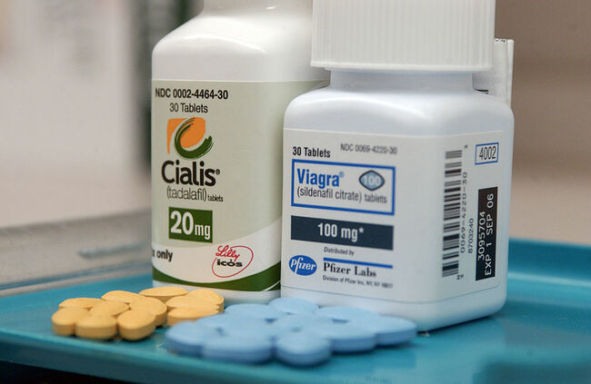 Viagra and Cialis tablets are pictured on a tray at a New Yo