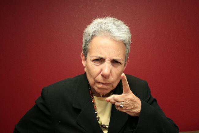 Silver Grey Haired Woman Disciplining You