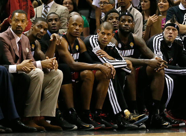 Juwan Howard coaching during the Miami Heat verse the San Antonio Spurs  during game 5 of the 2013 playoffs.