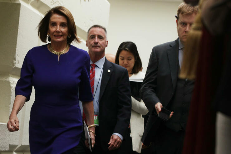 House Speaker Nancy Pelosi Meets With House Democrats Over Growing Calls For Impeachment
