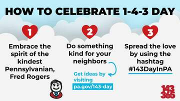 Reading and Harrisburg Breaking News - Today is 1-4-3 Day in PA, Honoring Fred Rogers with Acts of Kindness