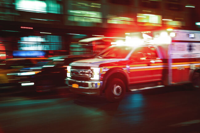 Motion blur ambulance United States
