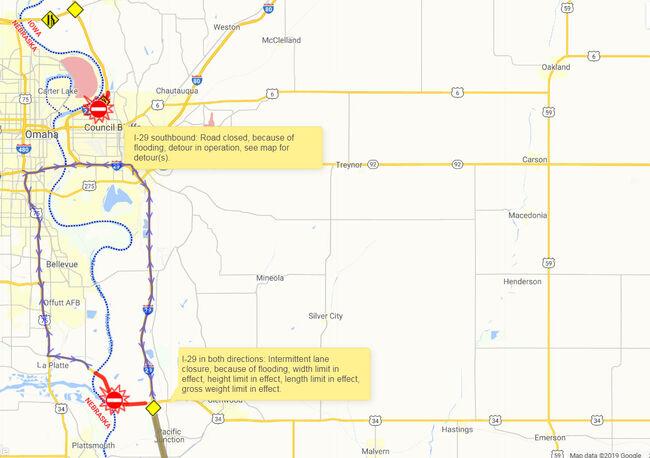 I-29 Iowa flooding again, lane closures, highways closed MAP PHOTOS