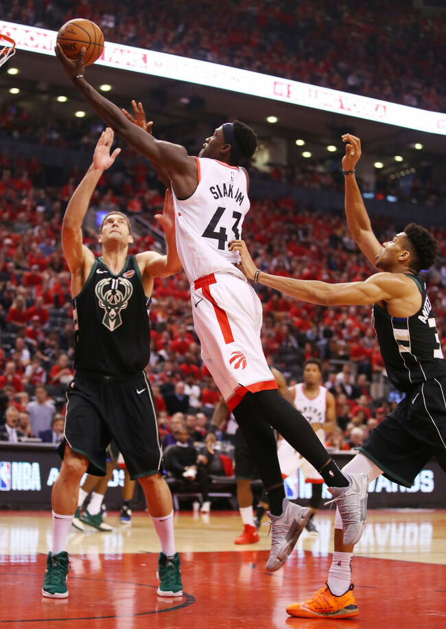 Getty - - Pascel Siakam goes to the rack against the Milwaukee Bucks