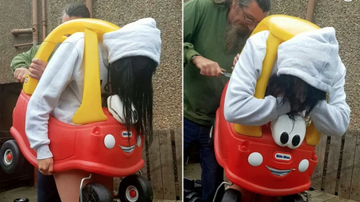 Johnjay And Rich - Woman Stuck In Toy Car & Gets Cut Free With Bread Knife