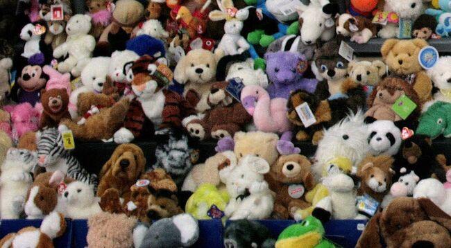 Stuffed animals rest on a shelf that wer