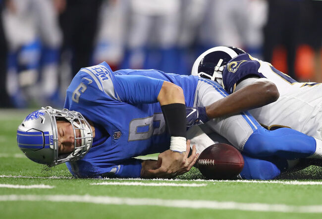 Getty - Los Angeles Rams v Detroit Lions Matt Stafford getting sacked.
