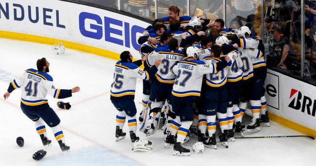 The St. Louis Blues celebrate after defeating the Boston Bruins in Game Seven to win the 2019 NHL Stanley Cup Final at TD Garden on June 12, 2019 in Boston, Massachusetts. (Photo by Rich Gagnon/Getty Images)