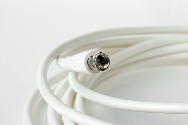 Spool of white coax cable